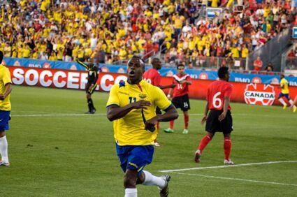 Christian Benitez celebrates in front of the, ahem, away fans? PHOTO: KANISHKA SONNADARA