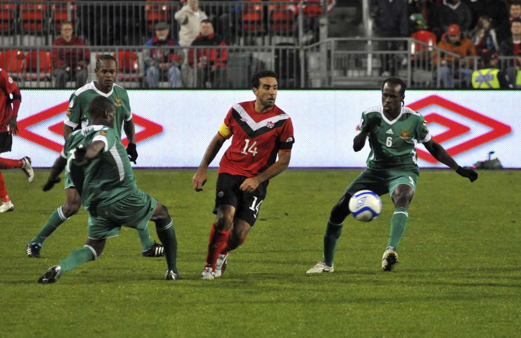Dwayne De Rosario in action vs. St. Kitts and Nevis. PHOTO: CANADA SOCCER/JASON GEMNICH