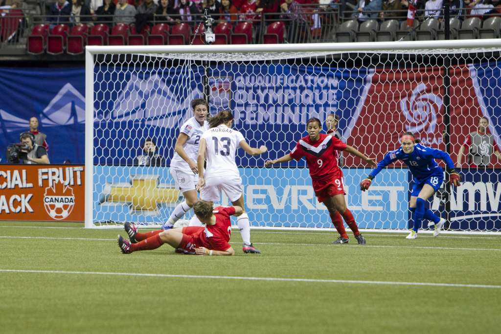 Abby Wambach and Alex Morgan on the attack for the Americans. PHOTO: CANADA SOCCER/BOB FRID
