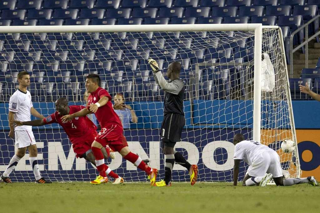 Nana Attakora and Lucas Cavallini celebrate a goal agains t the USA. PHOTO: CANADA SOCCER/MEXSPORT/ISAAC ORTIZ