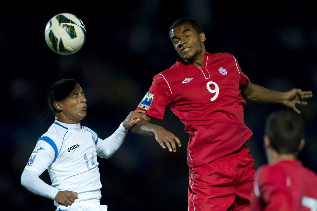 Canada's Caleb Clarke heads the ball past Nicaragua's Jason Coronel. PHOTO: MEXSPORT/CANADA SOCCER