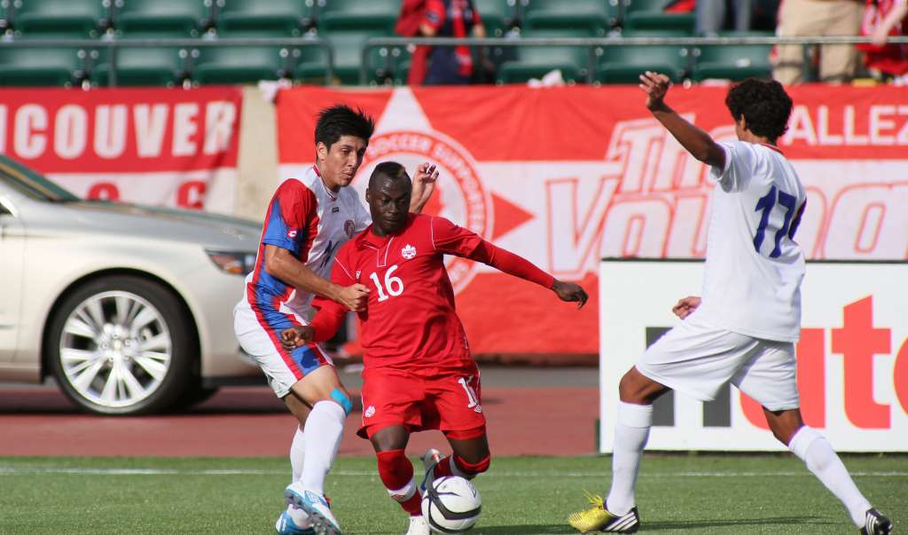 Randy Edwini-Bonsu in action against Costa Rica. PHOTO: UWE WELZ/CANADA SOCCER