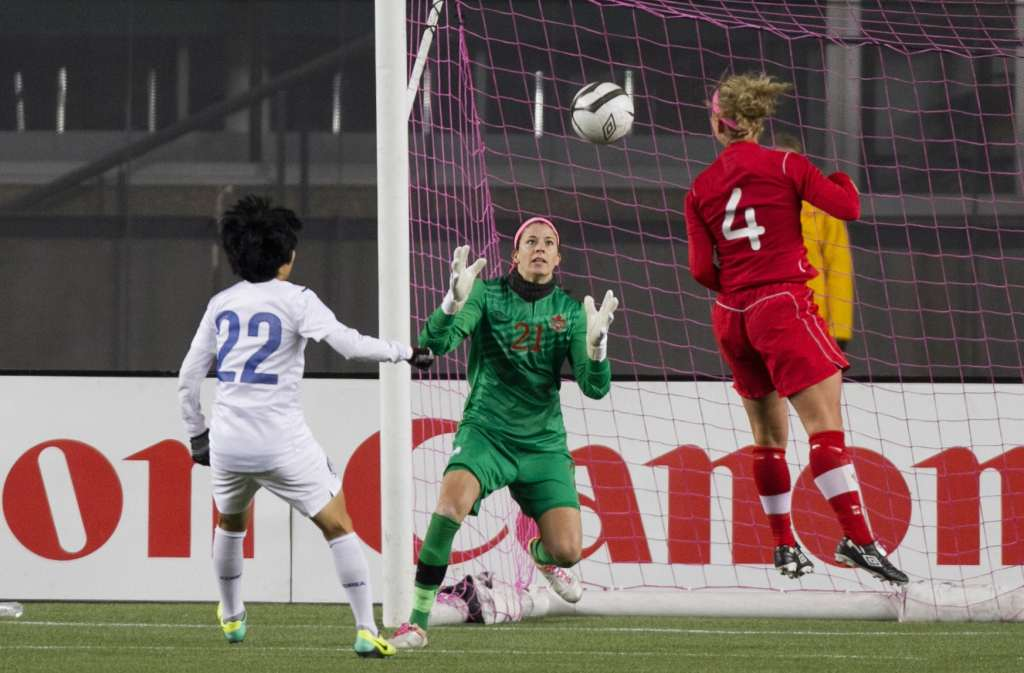 Stephanie Labbe makes a save against South Korea. PHOTO: TONY LEWIS/CANADA SOCCER