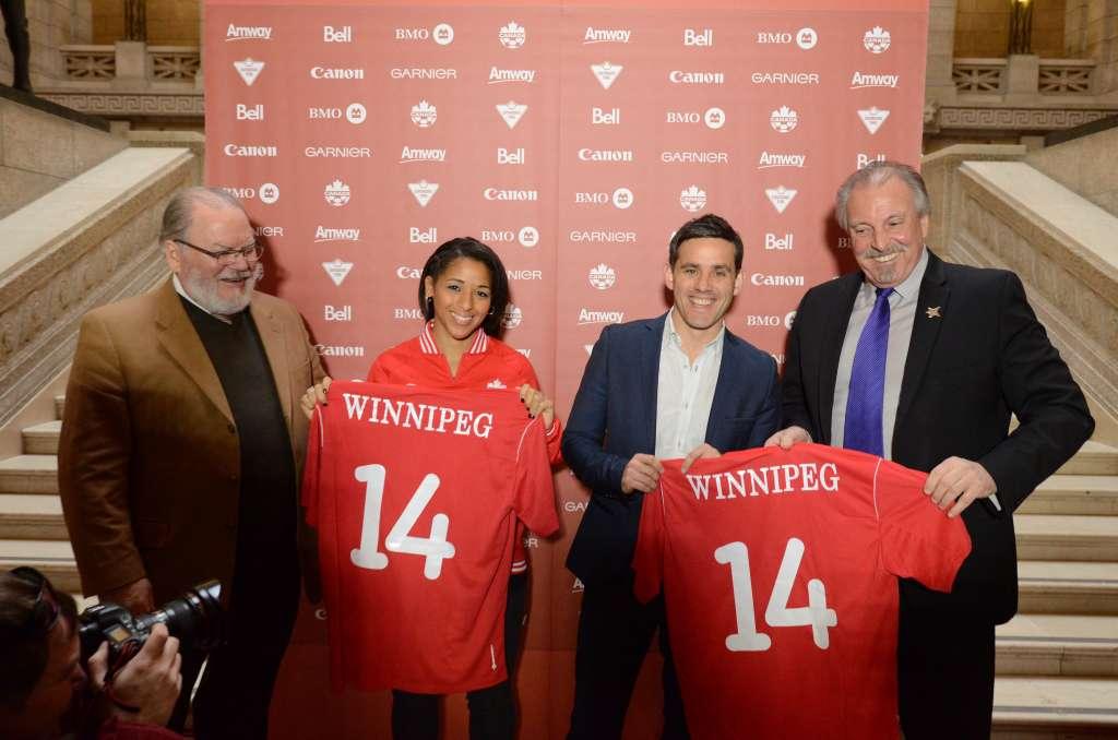 Desiree Scott, left, with John Herdman at a recent Canadian Soccer Association event in Winnipeg. PHOTO: CANADA SOCCER/ERIC AU