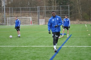 Tomi Ameobi trains with the Eddies in Vancouver.