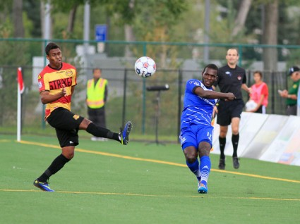 Laince Laing, right, tormented the Strikers on Saturday. FC EDMONTON/TONY LEWIS