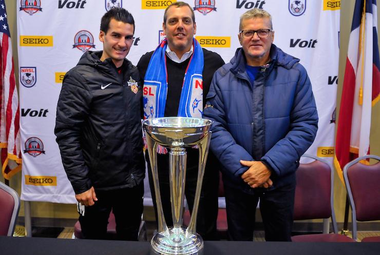 San Antonio coach Alen Marcina, left, NASL Commissioner Bill Peterson, centre and Fort Lauderdale coach Gunter Kronsteiner.