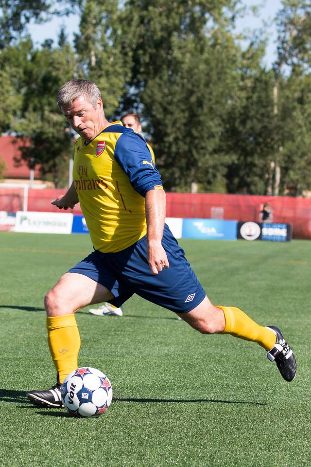 Colin Miller in an Arsenal kit? Believe it! Action from the Woodall Cup. PHOTO: TONY LEWIS/FC EDMONTON