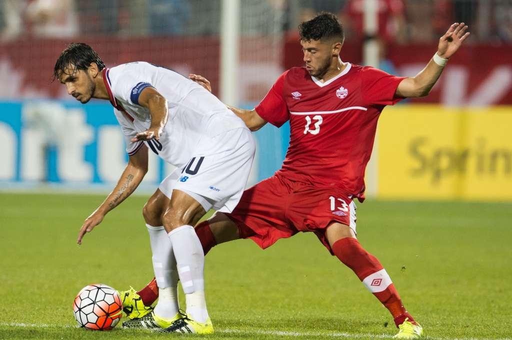 Costa Rica's Bryan Ruiz battles Canada's Jonathan Osorio. PHOTO: CANADA SOCCER/MEXSPORT