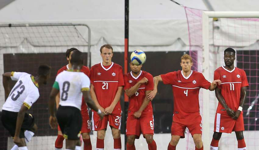 The Canadian wall stares down a Ghanaian free kick. PHOTO: TONY QUINN/CANADA SOCCER