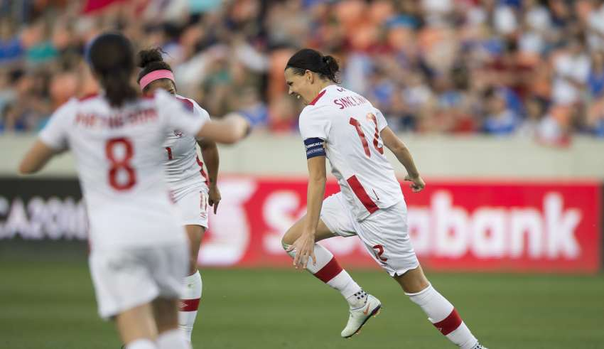 Christine Sinclair celebrates. PHOTO: MEXSPORT/CANADA SOCCER