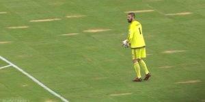 Eddies keeper Matt VanOekel on the,ahem, pristine playing surface in Jacksonville.