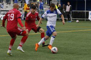 FCE's Jake Keegan in action against the Ottawa Fury. PHOTO: FC EDMONTON/TONY LEWIS