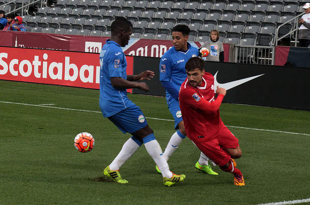 Michael Petrasso is pictured in action against Cuba. PHOTO: CANADA SOCCER