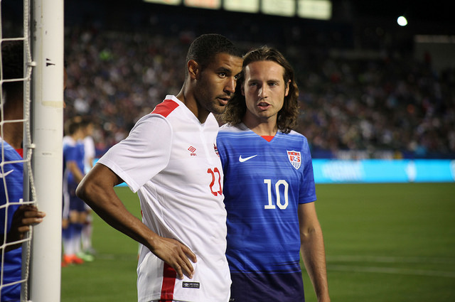 Canada's Tesho Akindele lines up against the USA's Mix Diskerud. PHOTO: CANADA SOCCER
