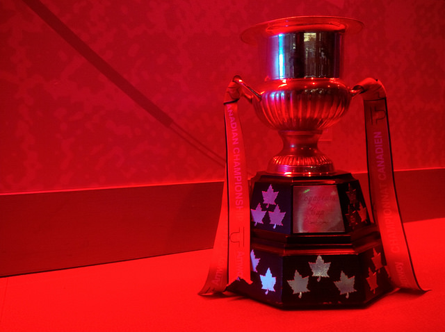 The Voyageurs Cup is Red.