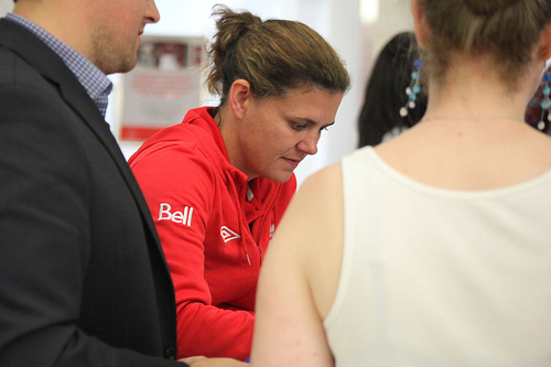 Christine Sinclair at a fan rally in Toronto. PHOTO: CANADA SOCCER
