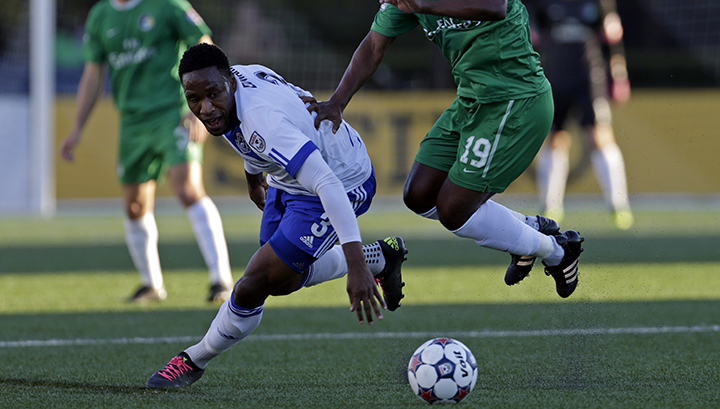 FCE's Eddie Edward is seen in action against the Cosmos. PHOTO: NASL