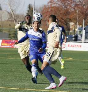 Dustin Corea is seen in action for FC Edmonton against the Jacksonville Armada PHOTO: TONY LEWIS/FC EDMONTON