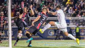 Gaston Cellerino scores the second of his three goals. PHOTO: NASL
