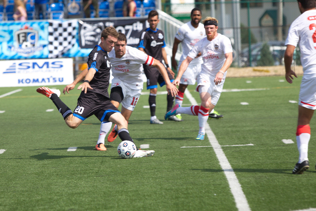 Corey Hertzog gets a shot off against San Antonio. PHOTO: FC EDMONTON/TONY LEWIS