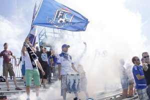 Eddies supporters celebrate the team's ninth home win in a row last Sunday. PHOTO: TONY LEWIS/FC EDMONTON