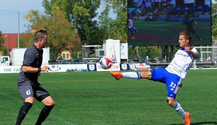 FC Edmonton in action against Minnesota United. PHOTO: TONY LEWIS/FC EDMONTON