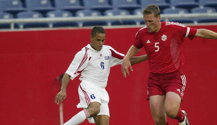 Jason DeVos in action for Canada against Cuba, 2003 Gold Cup.