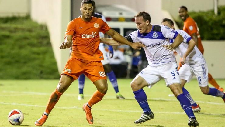 Eddies' captain Albert Watson in action against Puerto Rico FC. PHOTO: NASL