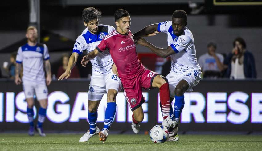 Due to call-ups, FC Edmonton didn't start a Canadian in Friday's Canadian Derby. PHOTO: STEVE KINGSMAN/NASL