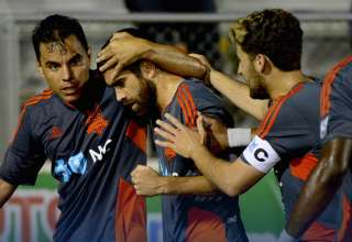 The RailHawks celebrate Austin Da Luz's goal.