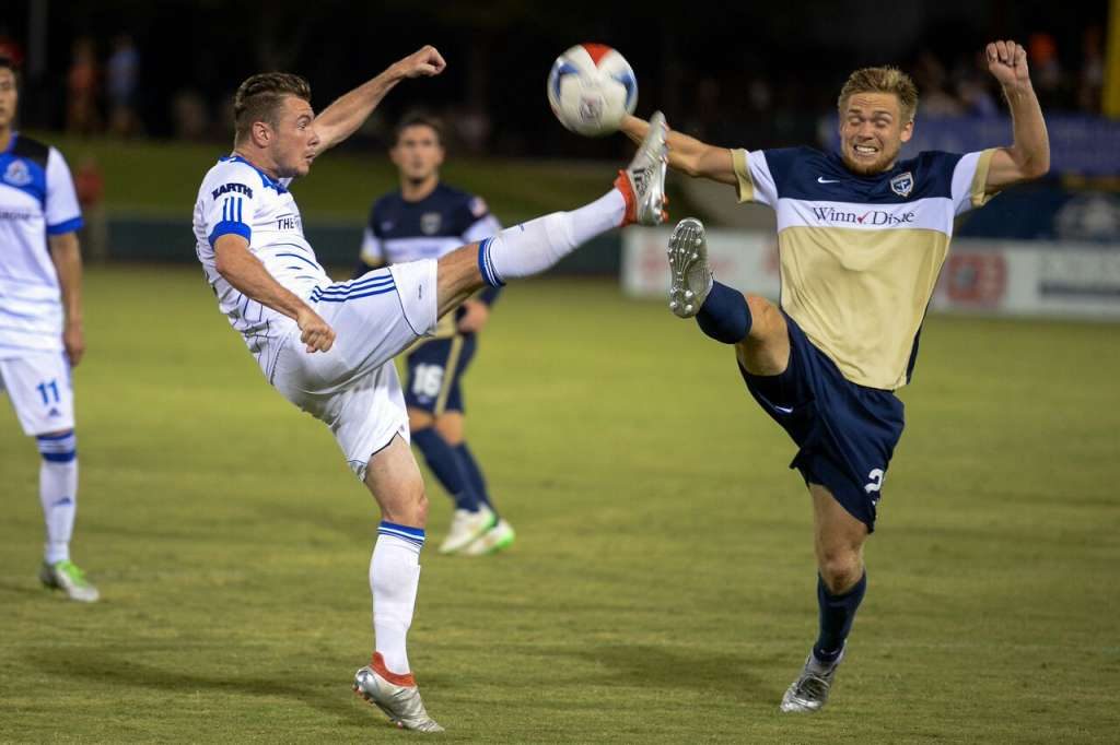 FCE's Nik Ledgerwood in action against the Armada. PHOTO: NASL/TODD DREXLER