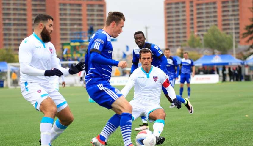 Ledgerwood in action vs. Miami FC. PHOTO: TONY LEWIS/FC EDMONTON