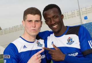 Marko Aleksic and Pape Diakite PHOTO: TONY LEWIS/FC EDMONTON