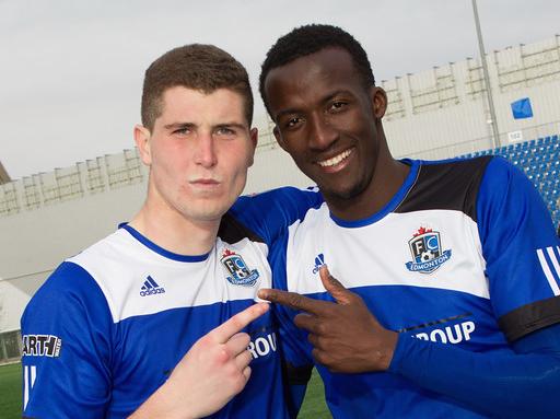 Marko Aleksic and Pape Diakite PHOTO: TONY LEWIS/FC EDMONTON