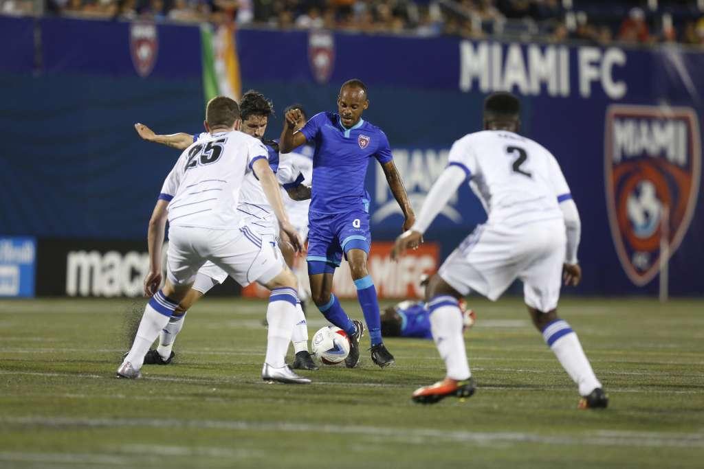 Ariel Martinez takes on the Eddies. PHOTO: MIAMI FC