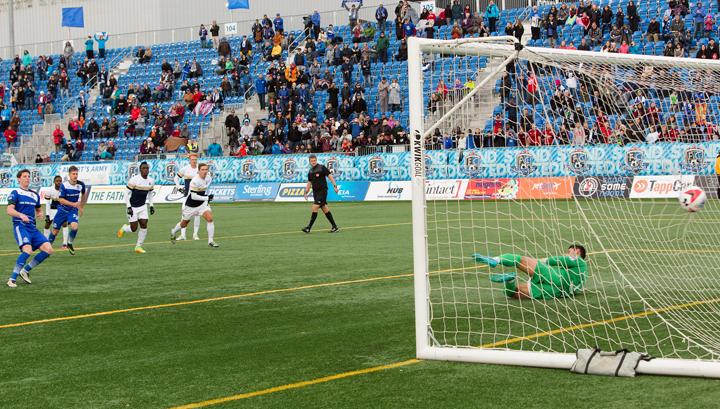 Daryl Fordyce buries the penalty. PHOTO: TONY LEWIS/FC EDMONTON