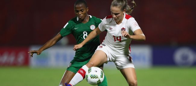 Canada's Emma Regan in action against Nigeria PHOTO: CANADA SOCCER