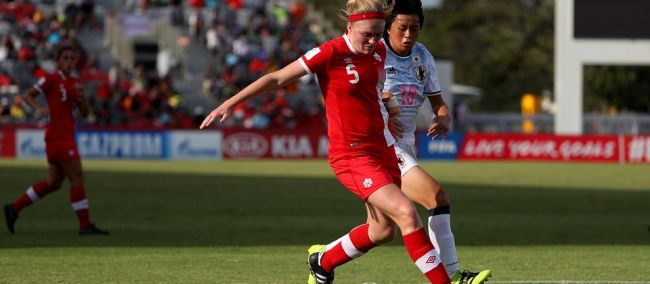 Hannah Taylor in action against Japan PHOTO: CANADA SOCCER