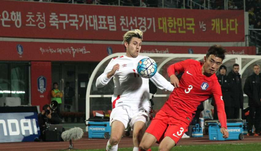 Canada's Maxim Tissot against South Korea's Yun Sukyoung. PHOTO: CANADA SOCCER